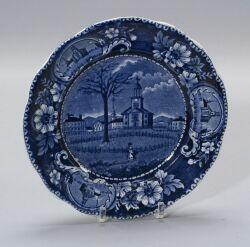 Historic Blue and White Transfer Decorated Staffordshire Plate