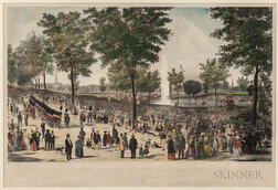 Framed B.F. Smith View of the Water Celebration, on Boston Common October 25th, 1848