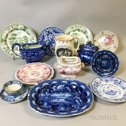 Fifteen Pieces of Transfer-decorated Ceramic Tableware