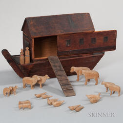 Handmade Noah's Ark with Carved Animals