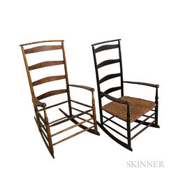 "Two Shaker Turned Maple ""No. 7"" Rocking Chairs"