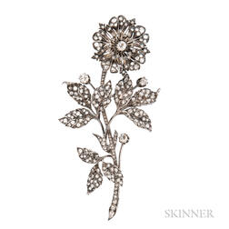 Antique Diamond Flower Brooch
