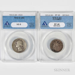 1875-S 20 Cent, ANACS EF40 Details, Cleaned, and a 1932-D Washington Quarter, ANACS VG08.     Estimate $100-200