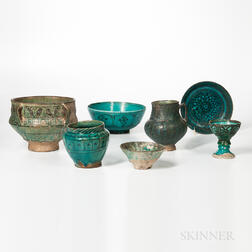 Seven Kashan Turquoise and Black Vessels
