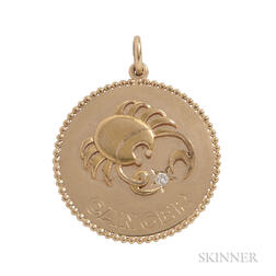 "14kt Gold ""Cancer"" Charm, Cartier"