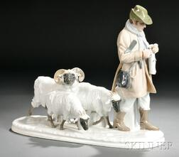 Meissen Porcelain Group of a Shepherd and Sheep