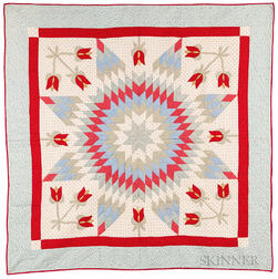 "Mennonite ""Star and Tulip"" Quilt"