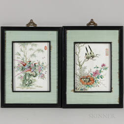 Two Enameled Porcelain Plaques
