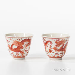 Pair of Iron Red Dragon Wine Cups