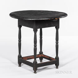 Black-painted and Turned Circular-top Tea Table