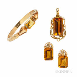 Group of 14kt Gold and Citrine Jewelry Items