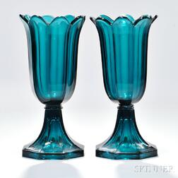 Pair of Blue/Green Pressed Glass Tulip Vases