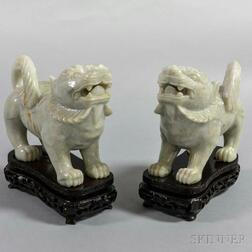 Pair of White Stone Carvings of Shishi Lions