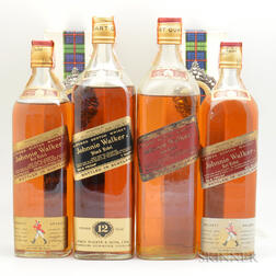 Mixed Johnnie Walker, 4 4/5 quart bottles 2 quart bottles