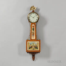 "Reproduction Elmer O. Stennes Mahogany Patent Timepiece or ""Banjo"" Clock"