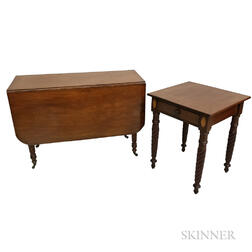 Classical Mahogany Drop-leaf Table and One-drawer Stand