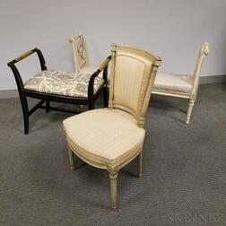 Neoclassical-style White-painted Chair and Two Upholstered Window Seats.