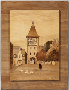 T.L. Spindler Marquetry Picture of Bergheim City Gate