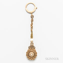 14kt Gold and Pearl Watch Fob/Locket