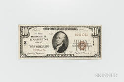 1929 The First National Bank of Bennington Type 1 $10 Note