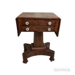 Empire Mahogany Two-drawer Drop-leaf Worktable
