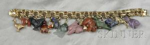 14kt Gold and Hardstone Charm Bracelet
