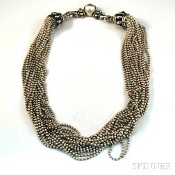 """Lagos """"Caviar"""" Sterling Silver, 18kt Gold, and Pearl Necklace"""