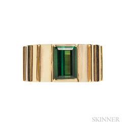14kt Gold and Green Tourmaline Ring