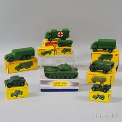 Ten Meccano Dinky Toys Die-cast Metal Military Vehicles