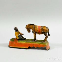 """Reproduction Painted Cast Iron """"Always Did 'Spise a Mule"""" Mechanical Bank"""