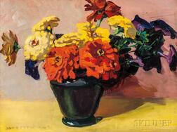 Jane Peterson (American, 1876-1965)      Zinnias and Petunias in a Vase