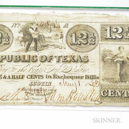 "1843 Republic of Texas 12 1/2 Cent ""Exchequer"" Note, Cr. A10, PCGS Very Fine 25."