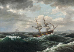 Thomas Birch (American, 1779-1851)    Brig in a Storm