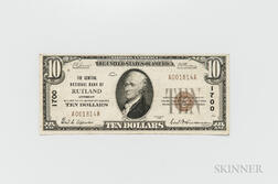 1929 The Central National Bank of Rutland Type 1 $10 Note