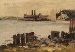 Irving Ramsay Wiles (American, 1861-1948)      Paddle Wheeler and Schooner on the River