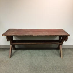Red-painted Chestnut and Pine Sawbuck Table