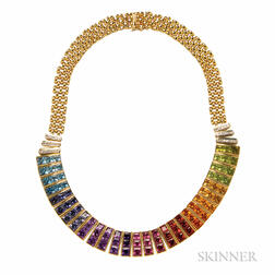 18kt Gold Gem-set Fringe Necklace