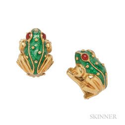 18kt Gold and Enamel Earclips, Hildago