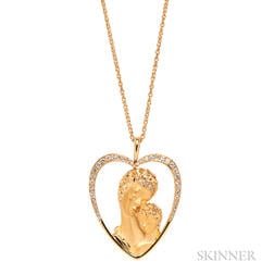 18kt Gold and Diamond Mother and Child Heart Pendant, Carrera y Carrera