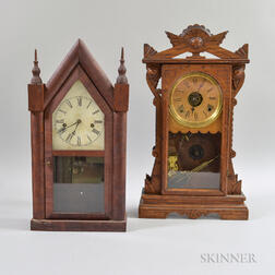 Gingerbread Mantel Clock and a Waterbury Steeple Mantel Clock