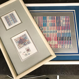 Framed Yaacov Agam First Day Cover and Print.     Estimate $20-200