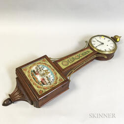 Reverse-painted and Carved Mahogany Patent Timepiece