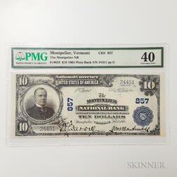1902 The Montpelier National Bank Plain Back $10 Note, PMG Extremely Fine 40