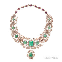 Large Gold, Emerald, and Rose-cut Diamond Necklace