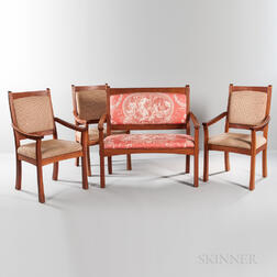 "Robert Ortiz Three ""Sofia"" Cherry Armchairs and Settee"