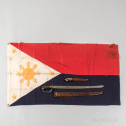 WWII Philippine Guerrilla Sword, Flag, Knife