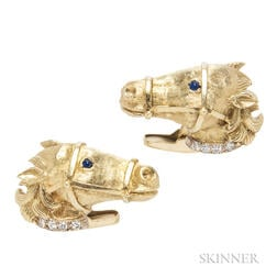 18kt Gold and Diamond Horse Cuff Links, La Triomphe