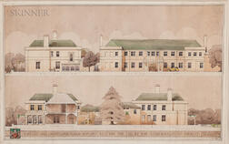 Three Framed 20th-Century British Architectural Renderings: Office of Cackett, Burns-Dick and MacKellar, Newcastle upon Tyne, Kirkley H