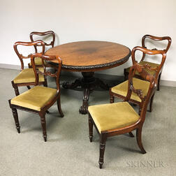 Regency Carved Rosewood Tilt-top Table and a Set of Six Chairs.
