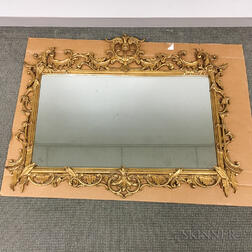 Rococo-style Carved Gilt-gesso Overmantel Mirror